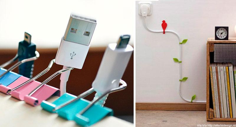 7 trucos para organizar los cables en casa